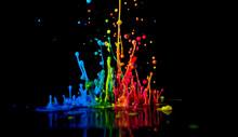 Dancing Color Ink On Black Bac...