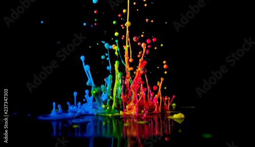 Fotografija Dancing color ink on black background