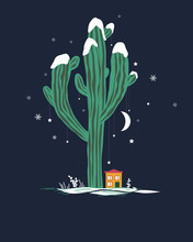 Cute Cartoon Illustration With High Saguaro Cactus And Liitle House. Mexican Fairy Winter Landscape, Christmas Card