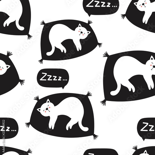 Sleeping cats, hand drawn backdrop. Black and white seamless pattern with animals. Decorative cute wallpaper, good for printing. Overlapping background vector. Design illustration