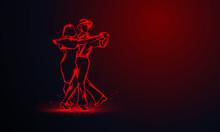 Couple Dancing Foxtrot. Vector...