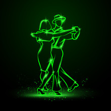 Couple Dancing Foxtrot. Vector Green Neon Illustration.