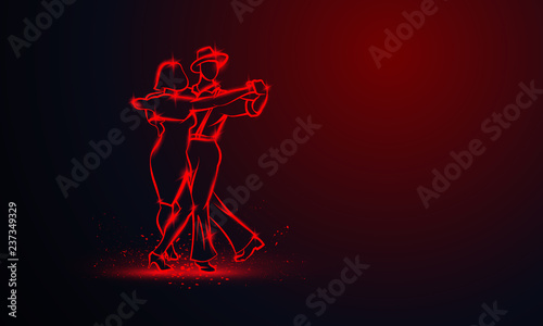 Couple dancing foxtrot. Vector red neon banner with copy space. Canvas Print