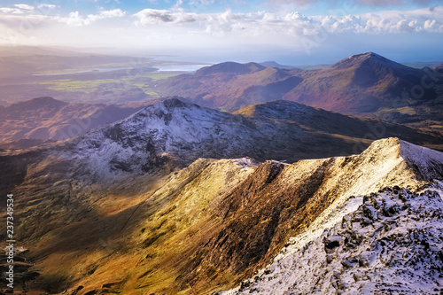 Canvas Print Snowdon is the highest mountain in Wales, at an elevation of 1,085 metres, Uk
