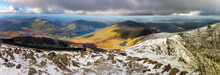 Panorama Of Snowdon Is The Highest Mountain In Wales, Uk.