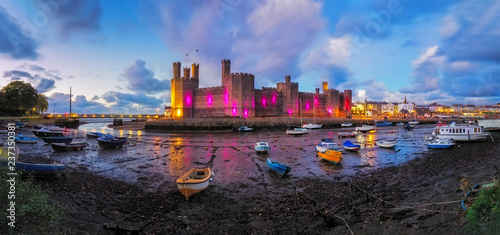 Wall Murals Northern Europe Panorama of Caernarfon castle in Wales, Uk.