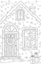New Year And Christmas Theme. Black And White Graphic Doodle Hand Drawn Sketch For Adult Coloring Book, Page For Kids. Sweet Home With Gifts, Christmas Tree, Snowflakes, Wreath, Garland.