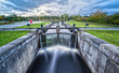 canvas print picture - Long Exposure of a water lock Caledonian Canal