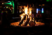 Burning Fire In Bar