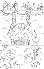 New Year And Christmas Theme. Black And White Graphic Doodle Hand Drawn Sketch For Adult Or Kids Coloring Book. Fire-place, Christmas Socks And Tree, Gifts, Ball And Candles.