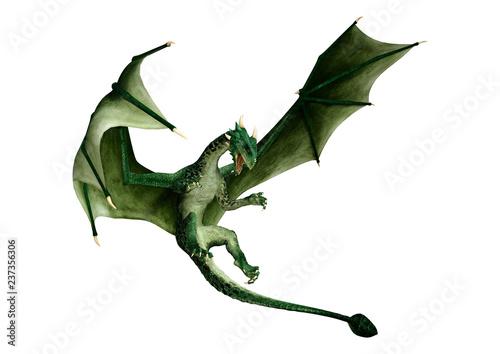 Foto 3D Rendering Fairy Tale Dragon on White