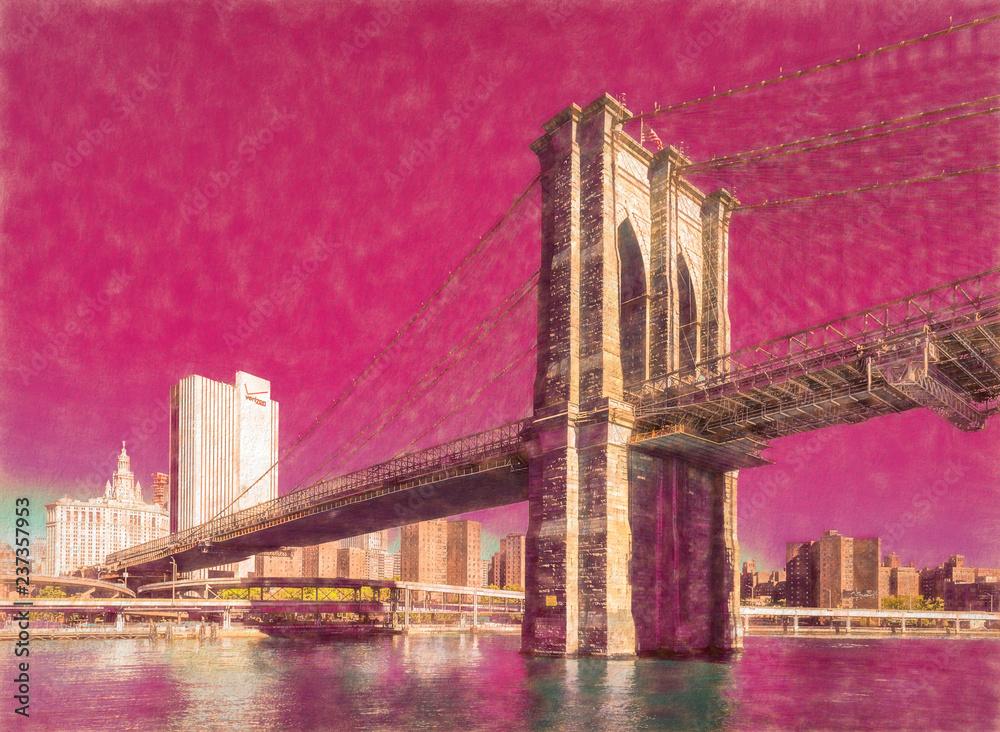 Fototapety, obrazy: The Brooklyn Bridge, New York, USA