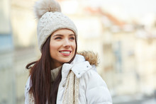 Fashionable Smiling Woman In W...