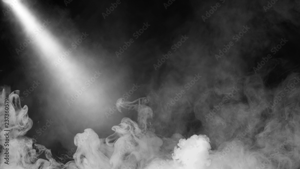 Fototapety, obrazy: Dry ice smoke clouds fog floor texture. .White perfect sportlight mist effect on isolated black background