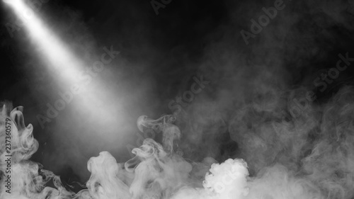 Garden Poster Smoke Dry ice smoke clouds fog floor texture. .White perfect sportlight mist effect on isolated black background