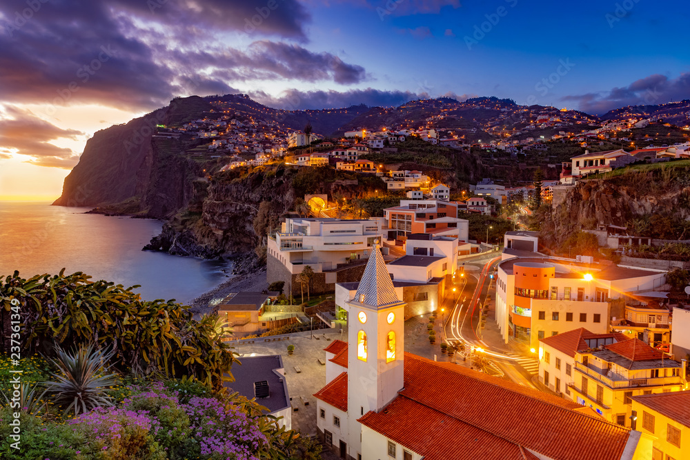 Fototapety, obrazy: Night scene of Camare de Lobos, illuminated architecture of the town, Madeira island, Portugal