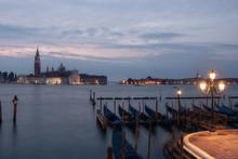 Evening View Of Gondolas On The Wave And San Giorgio Maggiore, Venice, Italy
