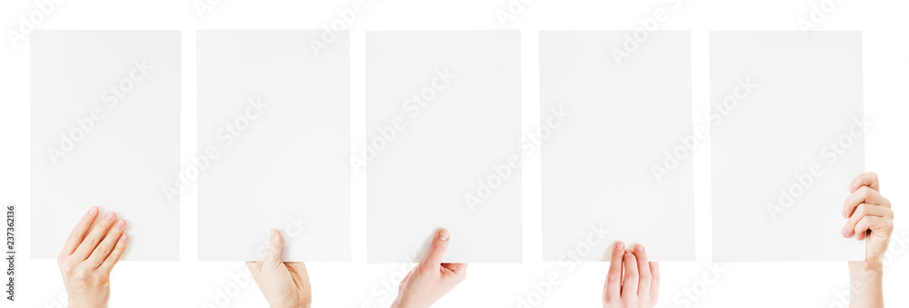 Fototapety, obrazy: hands holding blank paper isolated