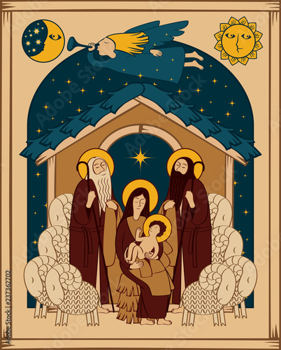 Deurstickers Vogels in kooien Vector illustration on the theme of Christmas and New Year in flat style. Holy Family and Christmas angel. Christmas Nativity scene. Adoration of the Magi