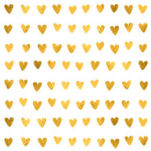 Hand Drawn Hearts Pattern. Golden Foil Effect, Glitter Texture. Vector Wedding Design Love Concept For Valentine's Day.