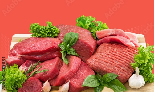 Fresh Raw Meat on Background