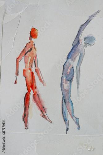 Zwei tanzende Menschen, in Bewegung, abstrakte Zeichnung