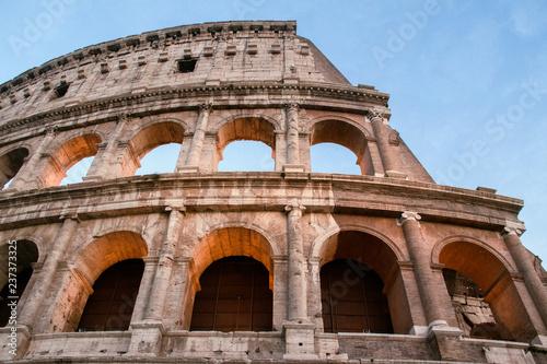 Photo sur Toile Con. Antique Detail of Colosseum at sunset.