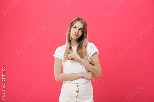 Fotografie, Obraz  Shot of bored annoyed beautiful teenage girl with straight blond hair looking at