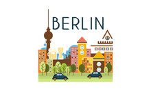 City Street, Berlin Travel Poster Vector Illustration On A White Background