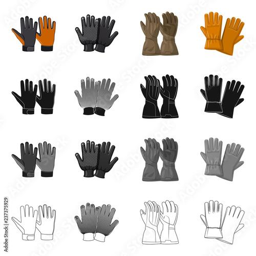 Valokuva Vector design of glove and winter logo
