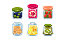 Collection Of Glass Jars With Ingredient, Fresh And Canned Food Food In Glassware Vector Illustratio