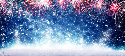 Spoed Fotobehang Carnaval Fireworks, blue background New Year's Eve, banner New Year