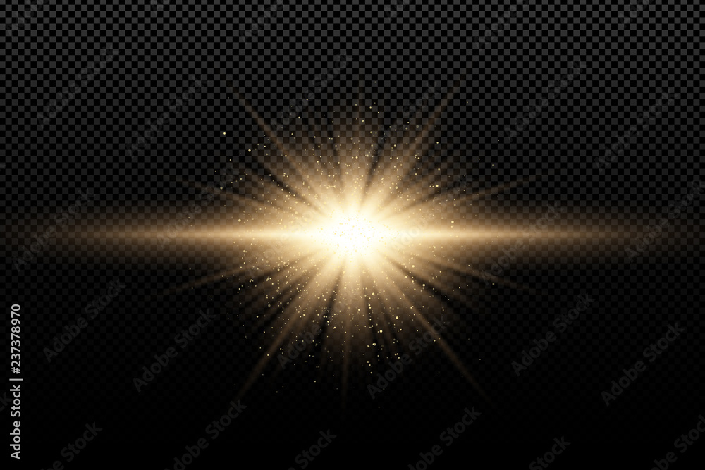Fototapety, obrazy: Golden stylish light effect on a dark transparent background. Golden magical rays and flying golden glitters. Bright explosion. Sunlight. Christmas light. Vector illustration