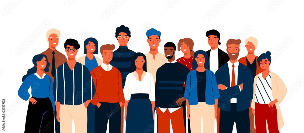 Fototapeta Group portrait of funny smiling office workers or clerks standing together. Team of cute cheerful male and female employees or colleagues. Colorful vector illustration in flat cartoon style.