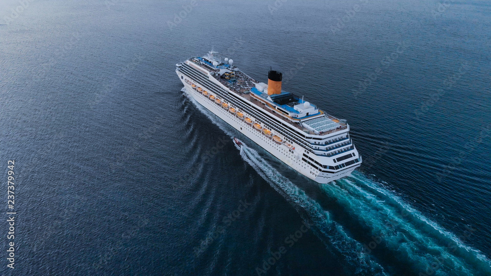 Fototapety, obrazy: Aerial view of beautiful white cruise ship above luxury cruise concept tourism travel on holiday vacation time.