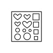 Black & white vector illustration of scrapbook stencil with hearts, circles. Line icon of template for diy craft projects. Isolated object