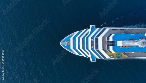 Aerial view of beautiful white cruise ship above luxury cruise concept tourism travel on holiday vacation time Fototapeta