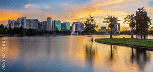 Downtown Orlando from Lake Eola Park at Sunset Canvas Print