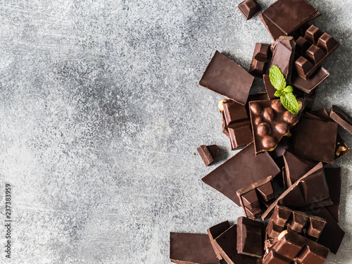 Various chocolate slices on a grey background sprinkled with mint leafs