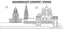Russia, Moscow, Novodevichy Convent Travel Famous Landmark Skyline, Panorama Vector. Russia, Moscow, Novodevichy Convent Linear Illustration
