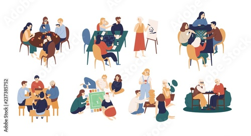 Vászonkép Collection of funny smiling people sitting at table and playing board or tabletop games