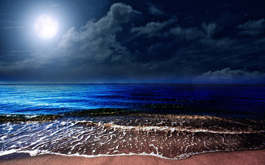 Fototapeta Morze Full moon over the sea