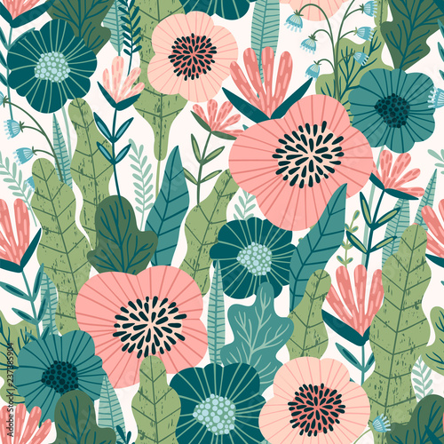 Türaufkleber Künstlich Floral seamless pattern. Vector design for paper, cover, fabric, interior decor