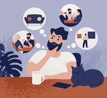 Thoughtful Bearded Man Sitting...