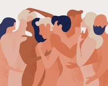 Crowd Of Naked Men And Women Hugging And Kissing. Concept Of Polygamy, Polyamory, Open Intimate Romantic And Sexual Relationship, Free Love. Colorful Vector Illustration In Flat Cartoon Style.