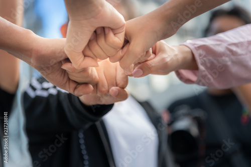 Fotografie, Obraz  People are fist bump to express teamwork, collaboration