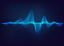 Abstract Digital Green Blue Equaliser, Sound Wave Pattern Element