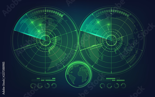 Fotomural radar screen and world map in futuristic style