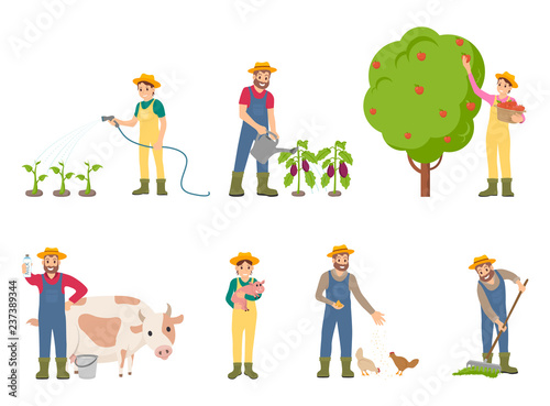 Fotografía  Farmer People with Pig and Cow Vector Illustration