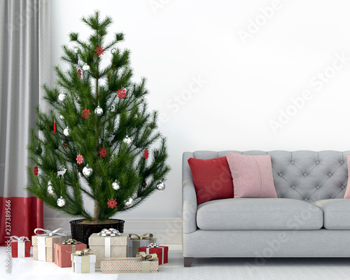 Fotografija  Gray sofa near the Christmas tree
